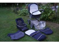 Mamas & Papas Nautical pram/pushchair with foot muff/cosy toes, rain cover, aprons