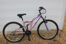 Pink Odessa Trojan full suspension bike