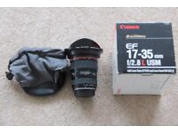 Canon 17-35mm f2.8L USM lens Mint condition with caps, original bags, box and instructions