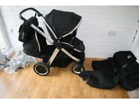 Babystyle Oyster Max 2 double pram - Black / chrome frame CAN POST