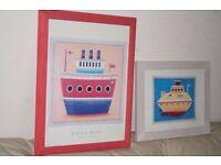 2 Simon Hart framed boat prints