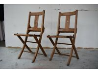Vintage wooden antique church chairs