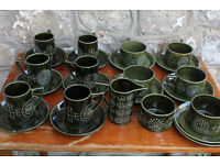 Vintage Portmerrion Totem Green Tea Set 25 Pieces Tea Service Coffee Susan Williams Ellis Cup Saucer