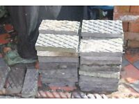 Victorian grey ,diamond patterned path/ patio tiles