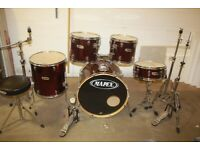 Mapex V Series Wine Red Full 5 Piece Drum Kit (22in Bass) + Sabian Cymbal Set - £375 ono