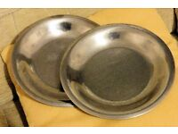 2 Strong Stainless Steel Plates, approx 10 inches diameter, Good for Camping, Histon