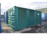 20ft Steel Storage Container. Converted for generator housing. Vents and side door installed.