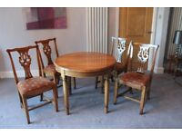 DINING TABLE AND FOUR CHAIRS IN OAK BY BRIGHTS OF NETTLEBED