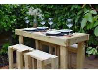 Hand-Crafted Outdoor Bar Table and Stool set. (Garden/Patio). Four-seater.