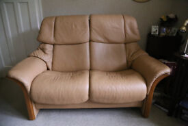 Two seater Stressless leather sofa - hardly used