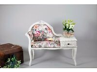 Vintage Telephone Seat Chair Table Painted Shabby Chic Roses