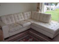 large 100% genuine Leather L shape corner sofa 4-5 seater off white light cream