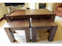 Nest of coffee tables in Walnut