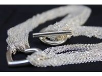Tiffany & Co. Silver Multi Strand Chain Heart Toggle Clasp Necklace