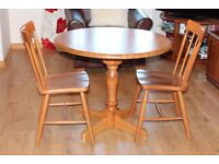 Quality Solid Wood Drop Leaf Table and Two Chairs from John Lewis
