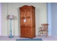 BEAUTIFUL TOP QUALITY WAXED SOLID PINE WARDROBE WITH 3 DRAWERS - CAN COURIER