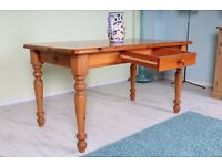 SOLID PINE FARMHOUSE STYLE KITCHEN TABLE WITH DRAWER - UK WIDE DELIVERY