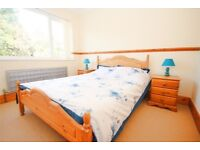 Pine Double Bed with mattress and 2 Pine beside drawer cabinets