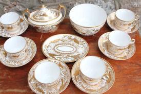 George III Regency Early Minton Part Tea Set 1810 Handpainted Birds Gilded Georgian Mintons Antique