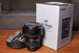 CANON EF 24-70mm f/2.8L II USM ZOOM LENS + HOOD - GREAT CONDITION - BOXED + BAG