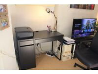 Black-brown desk and black swivel desk chair (free desk lamp)