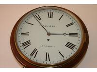 "NEWMAN OF LONDON ENGLISH DIAL FUSEE 12"" WALL CLOCK"