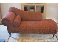 Antique Chez Lounge - red/gold fabric - good condition - 1.9x0.9x0.87m - wooden legs on castors