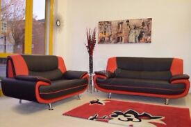 ❋★❋ BRAND NEW ❋★❋ HIGH QUALITY FAUX LEATHER BLACK AND RED CAROL SOFA SUITE - SAME DAY FAST DELIVERY
