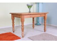 RUSTIC SOLID PINE KITCHEN TABLE AGED WAXED FINISH - CAN COURIER