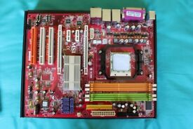 AMD K9N SLI Motherboard socket AM2 with dual core CPU (3 Ghz per core), heat sync & fan - Faulty