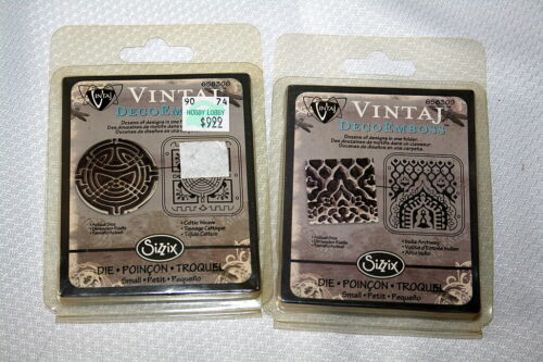 SIZZIX VINTAJ DECO EMBOSS FOLDERS 2 PKGS NEW - INDIA ARCH WAY AND CELTIC WEAVE