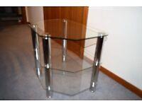 TV 3 SHELF GLASS STAND PERFECT COND. 60 CMs AT WIDEST, 42 CMs DEEP, 50 CMs HIGH. £15