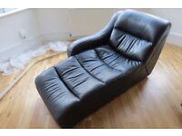 Black Premium Leather Chaise Longue Lazy Boy Sofa Chair - Excellent condition