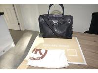 MICHAEL KORS Black Leather Python Texture Hamilton Handbag with Silver Hardware