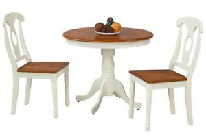 Kimberley Three Piece Dining Set In Oak And White