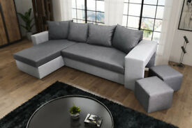 Brand new corner sofa bed universal 2 large storage grey black white