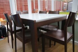 Calligaris Vero Wenge Wood Extendable Dining Table glass top + 6 chairs set CS/4004-VR
