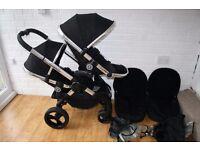iCandy Peach 3 single / double pram pushchair (Black / chrome) CAN POST