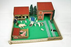 Vintage Wooden Farm Yard Play Set with animals.