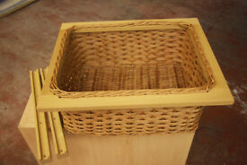 Pair of Wicker Baskets with runners to suit 600mm cabinet (New)
