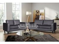 BRAND NEW PU LEATHER 3 + 2 SEATER SOFA SUITE IN BLACK or BROWN, SINGLE ARM CHAIR SET AVAILABLE