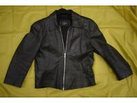 Ladies Short Black Leather Jacket by 'Style File' (Size Small)