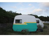 1970's Vintage Retro Tiny Sprite CI Cadet Caravan with Woodburner