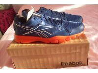 Size 9 New Reebok Trainers. Blue / Orange. Running Shoes, Unused. Boxed.