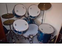 Performance Percussion Blue Full Size Rock Drum Kit