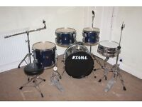 Tama Stagestar Dark Blue 5 Piece Full Drum Kit (18 in bass) complete with Sabian Solar Cymbal Set