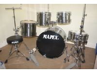 "Mapex Venus ""Smokey Chrome"" Finish 5 Piece Full Drum Kit (22"" Bass) + Stands + Stool + Cymbals"