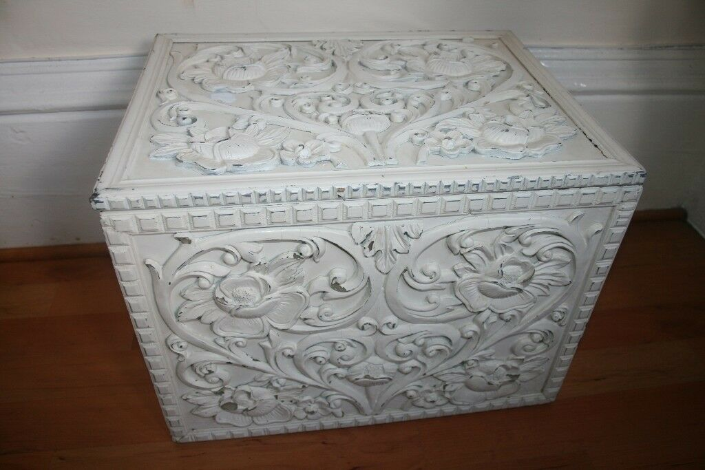Shabby Chic Decorated White Wooden Storage Box Chest Bedroom Living Room Home House Flat Decor Cheap In Ibrox Glasgow Gumtree