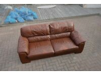X2 Brown Sofas (Faux Leather)