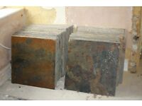 Slate tiles, natural, ungraded, multi-coloured, unused, 23.4 m2 total, for collection, £350 ono